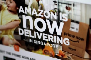 The Amazon Singapore website announcing deliveries in Singapore is seen in this illustration photo July 27, 2017.  REUTERS/Thomas White/Illustration