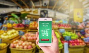 woman hand holding mobile with grocery online on screen with blur supermarket background; Shutterstock ID 571883317