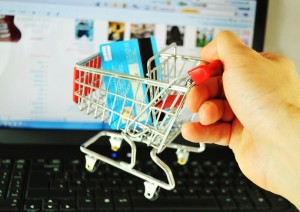 Internet shopping with trolley and credit card