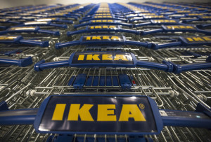 Shopping carts displaying the IKEA company logo sit before use on the opening day of IKEA of Sweden AB's first department store in Belgrade, Serbia, on Thursday, Aug. 10, 2017. Home retailer IKEA of Sweden AB said it would start selling batteries for rooftop solar panels in the latest sign that once-costly storage technologies are becoming mainstream. Photographer: Oliver Bunic/Bloomberg via Getty Images