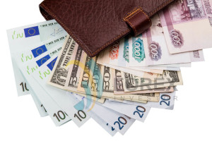 Money of the world - Dollars, euros, russian roubles in the wallet