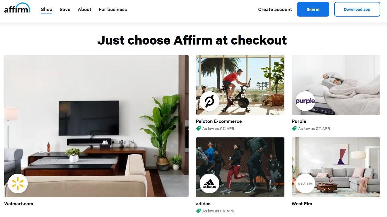Affirm.com HomePage