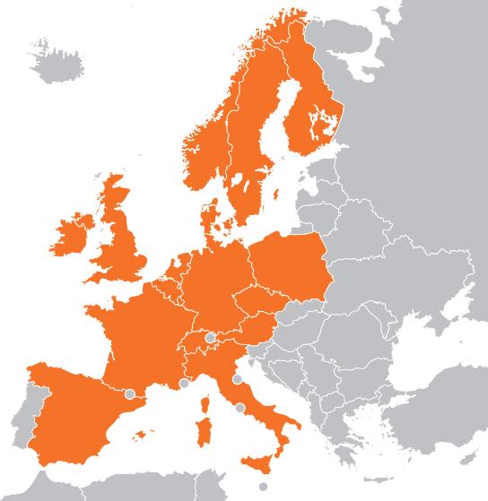 Страны Европы, где уже работает Zalando