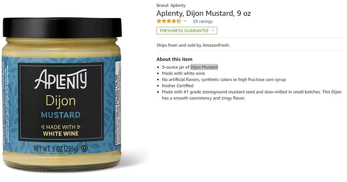 Aplenty, кошерная горчица с белым вином, уже продается на Amazon