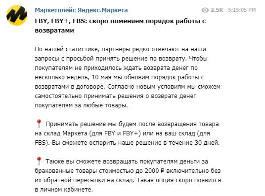 Возвраты на Яндекс.Маркете - текст сообщения в Телеграм-канале